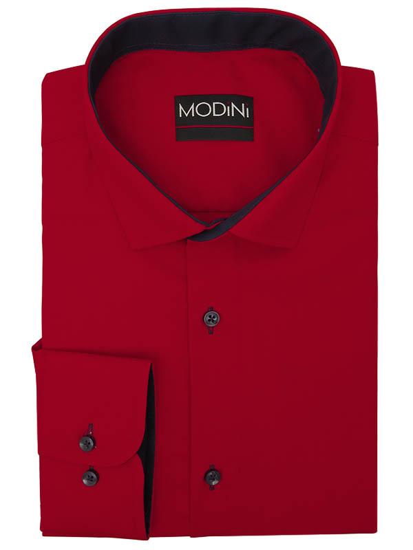 Czerwona koszula męska z granatowymi kontrastami Y02