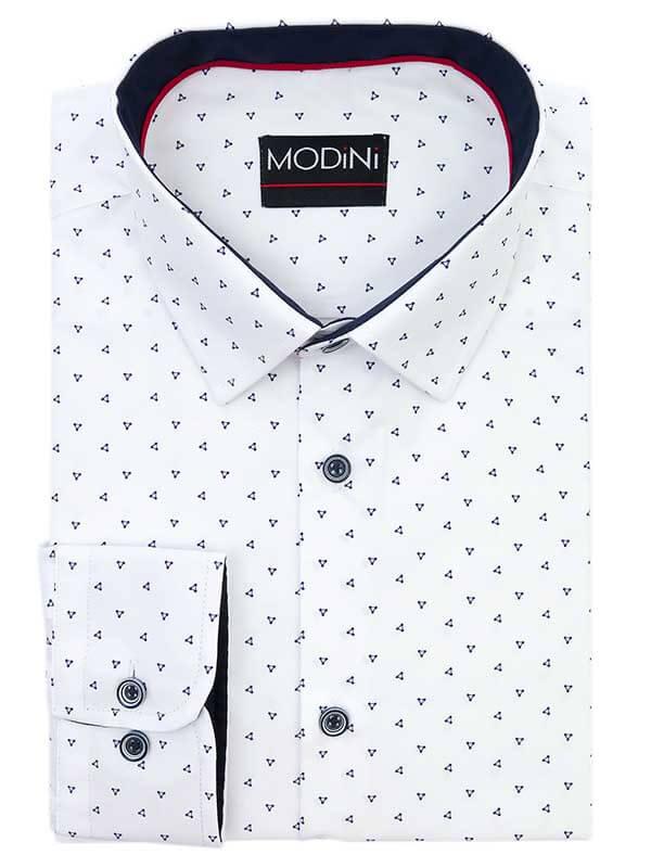 Biała koszula z granatowym wzorem - trójkąty Y09