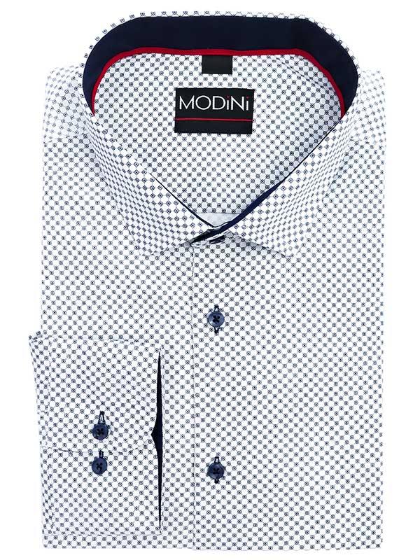 Biała koszula z granatowym wzorem Y17