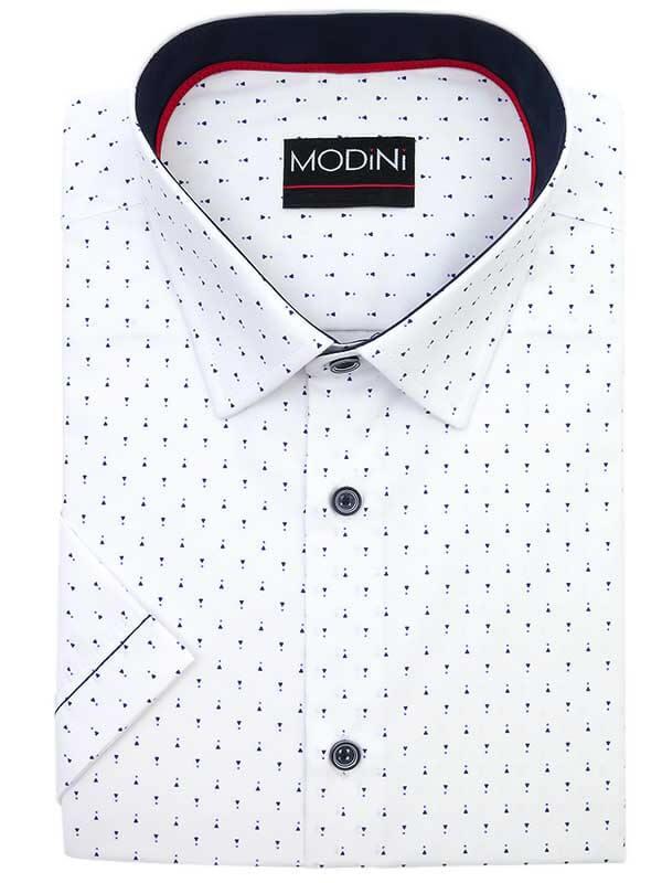 Biała koszula męska z krótkim rękawem z granatowym wzorem YK01