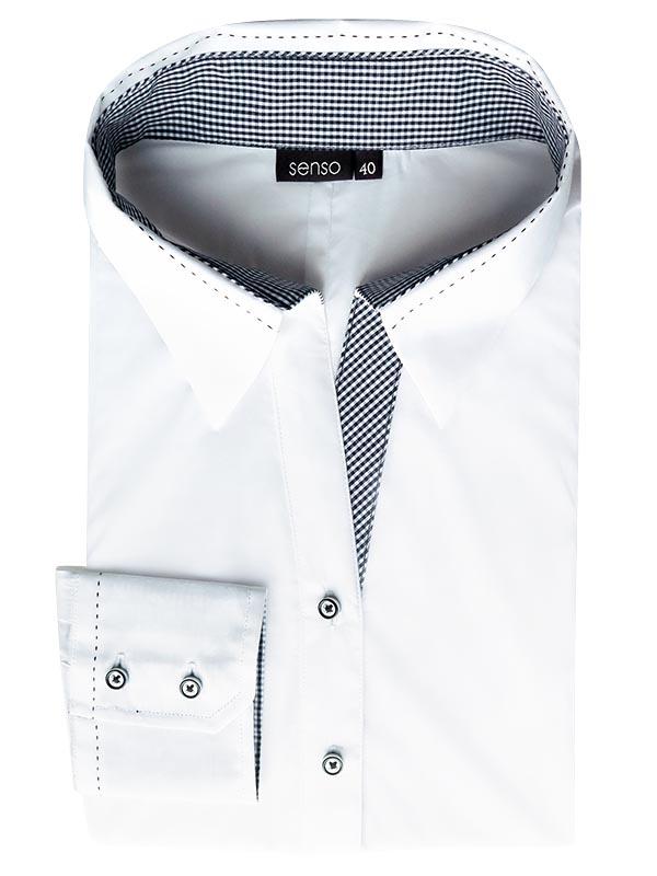 Biała damska koszula z kontrastami w kratkę Senso DK4