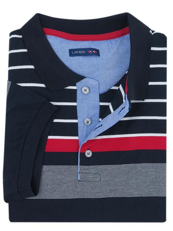 Granatowa męska koszulka polo w czerwono-białe paski KP14