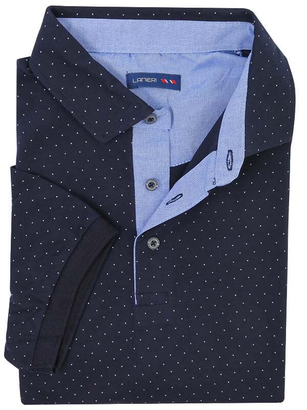 Granatowa męska koszulka polo w białe kropeczki KP15