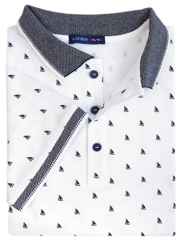 Męska koszulka polo - biała w łódki KP9