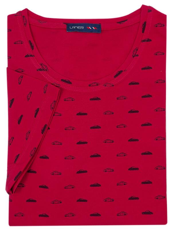 Męska czerwona koszulka T-shirt w samochody KTS1