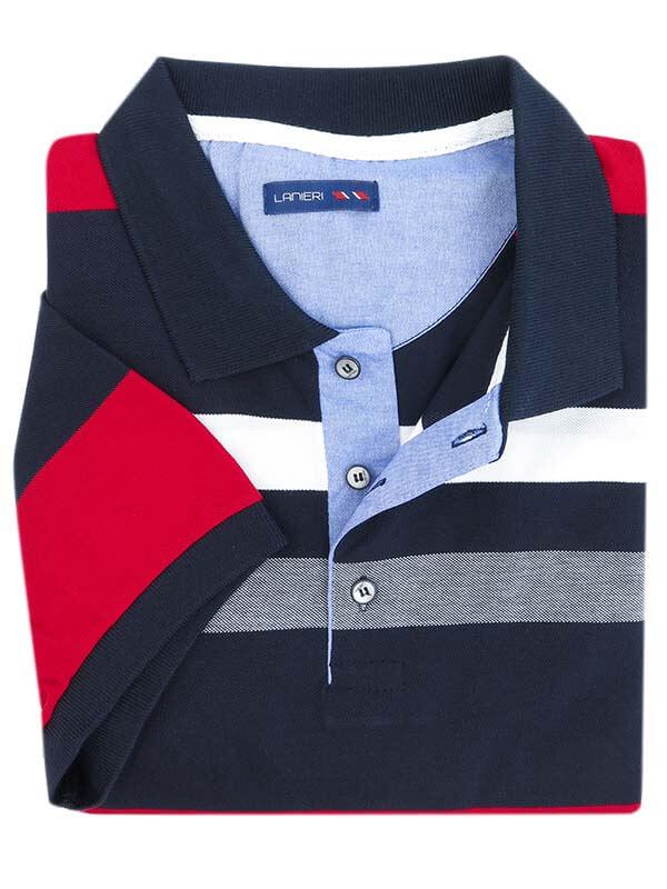Granatowa męska koszulka polo w czerwono-białe paski KP17
