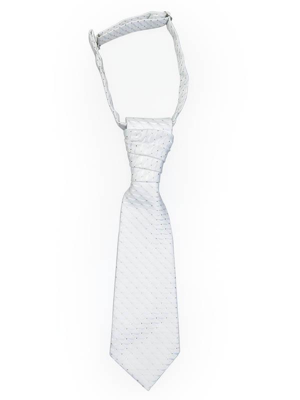 Biały krawat dziecięcy z poszetką KD3
