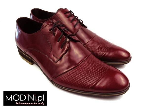 Bordowe obuwie męskie