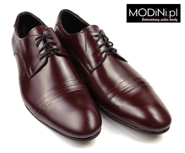 Bordowe buty męskie Faber z 3 zakładkami