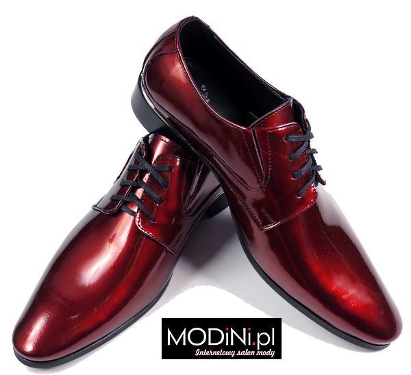 aa8516922393d Czerwone / bordowe lakierki męskie | Sklep Internetowy Modini.pl