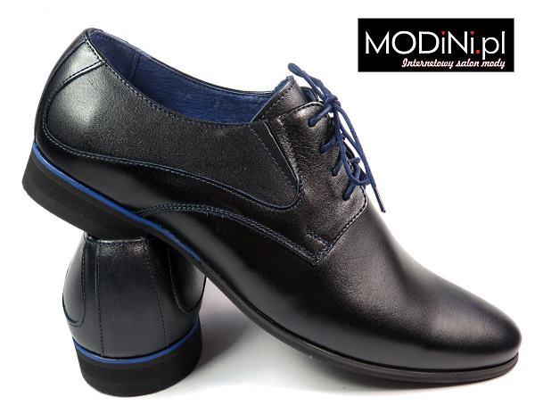 Czarno - niebieskie wizytowe obuwie męskie