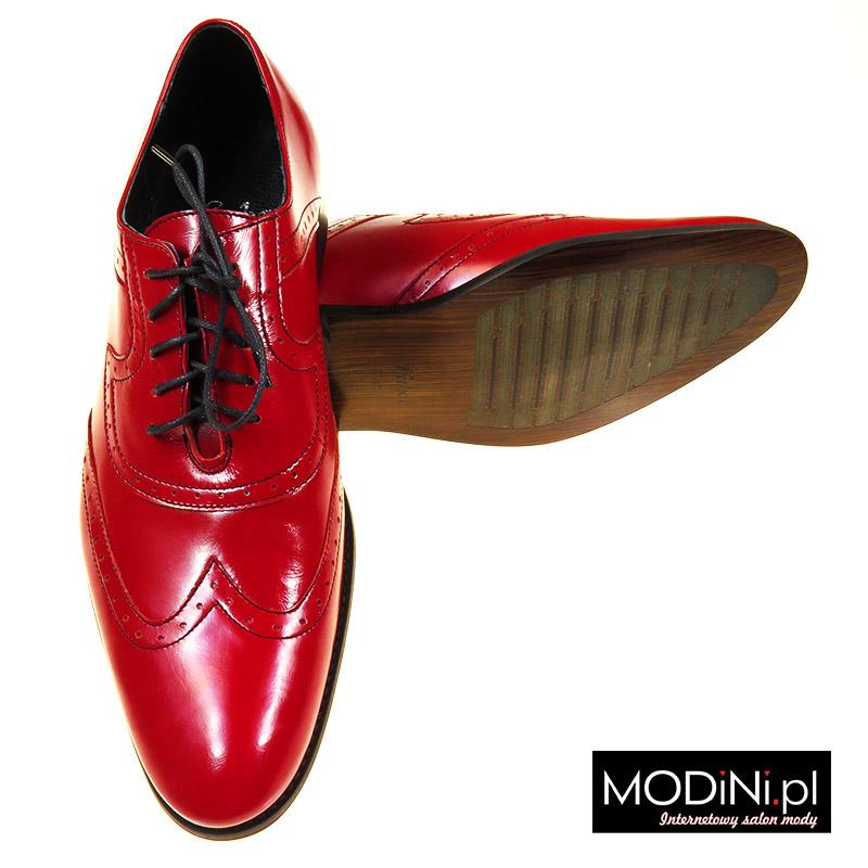 Czerwone męskie obuwie wizytowe - brogsy