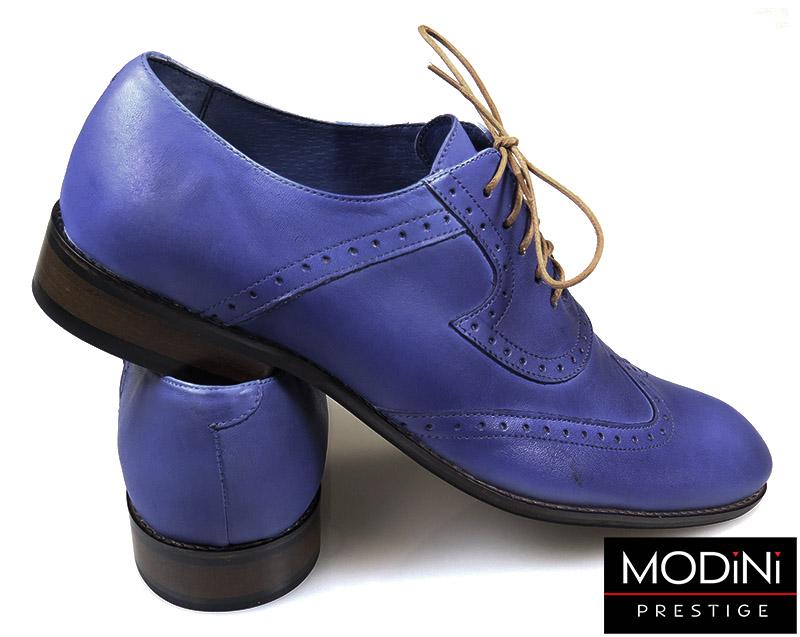 Niebieskie męskie buty wizytowe - brogsy