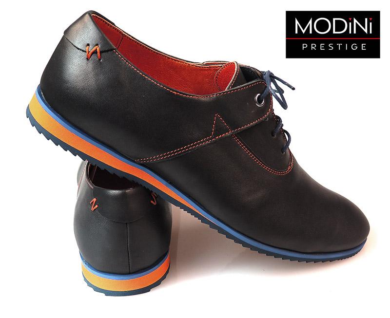 Czarne buty męskie z pomarańczowym wykończeniem