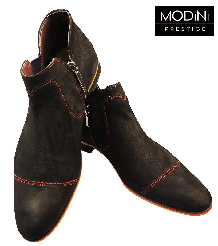 Wysokie czarne buty z czerwonymi przeszyciami