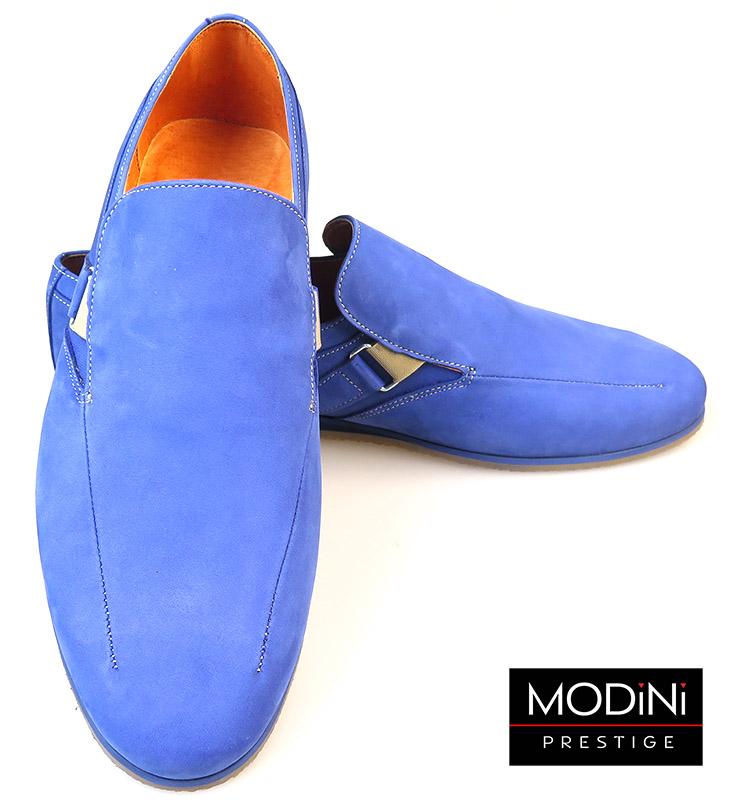 Niebieskie mokasyny męskie - buty wsuwane
