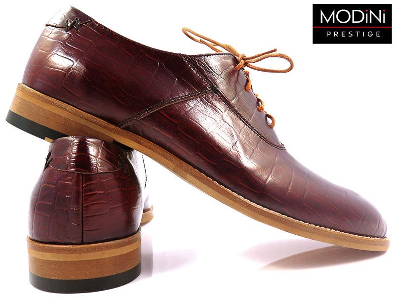Oryginalne obuwie męskie - bordowa imitacja skóry krokodyla