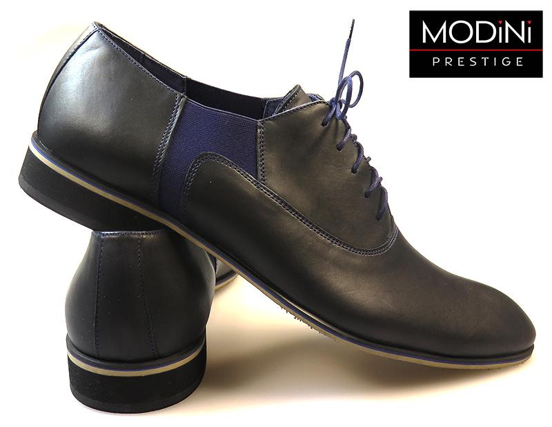 Czarne buty wizytowe z granatową wstawką