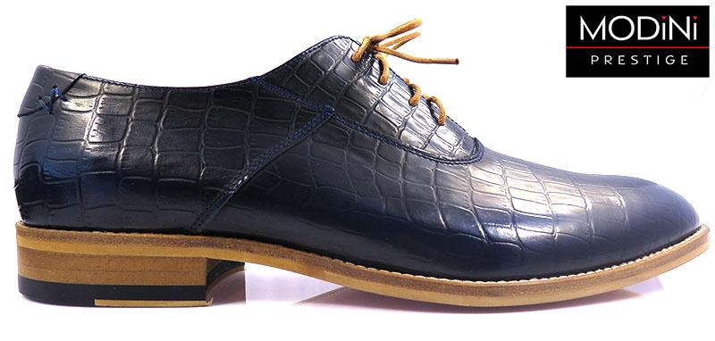 Oryginalne obuwie męskie - granatowa imitacja skóry krokodyla
