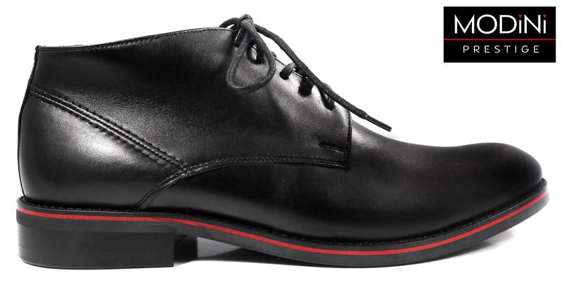 czarne buty z czerwonym paskiem
