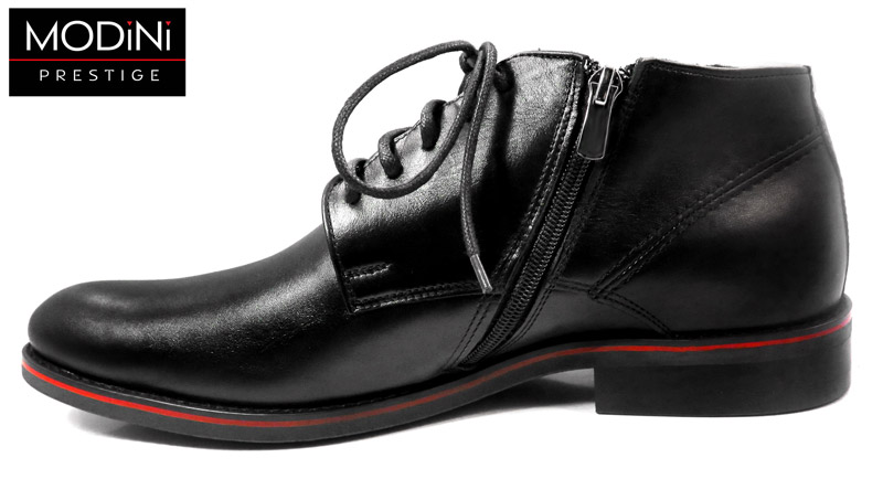 czarne obuwie zimowe z czerwonymi wstawkami