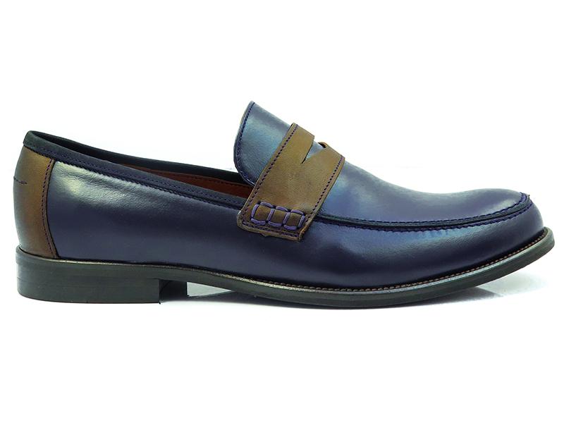 Granatowo-brązowe wsuwane buty męskie T104