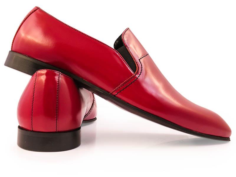 Czerwone mokasyny męskie - buty wsuwane F42