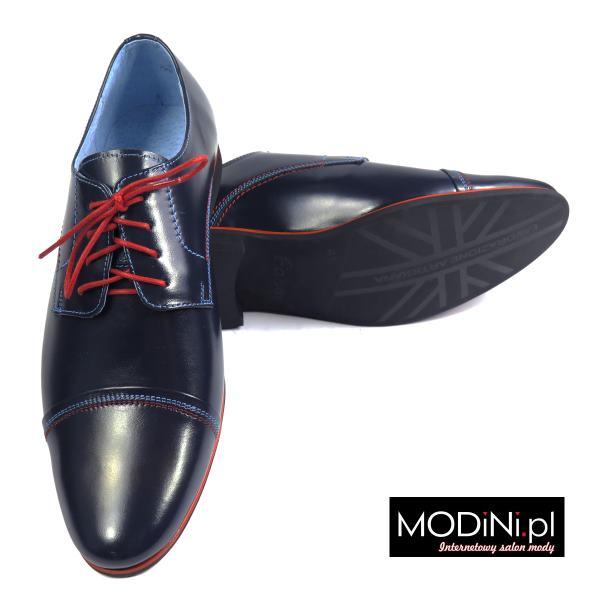 Granatowe męskie obuwie wizytowe