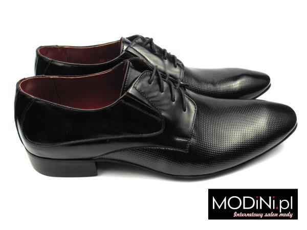 Czarne buty męskie z perforacją Faber
