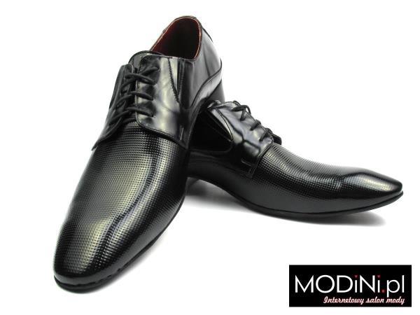 Czarne obuwie męskie z perforacją Faber