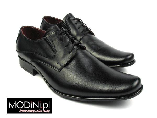 Czarny klasyczne półmatowe buty męskie