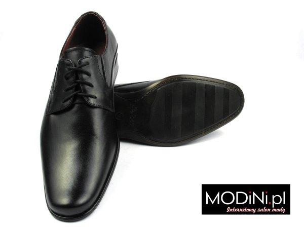 Czarny klasyczne półmatowe obuwie męskie Faber