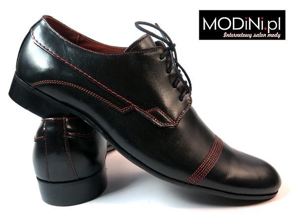 Czarne buty męskie z czerwoną nitką
