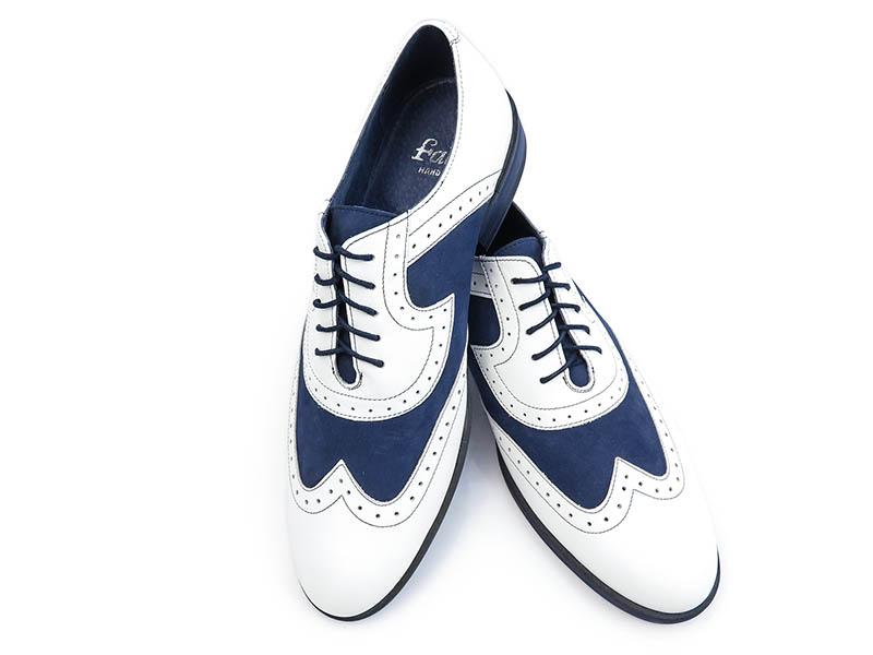 Granatowo-białe obuwie męskie T108