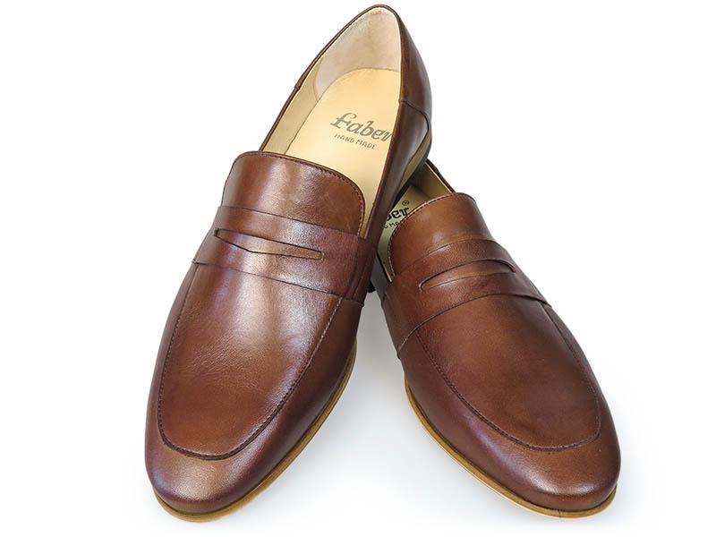 Brązowe wsuwane buty męskie - loafers T117
