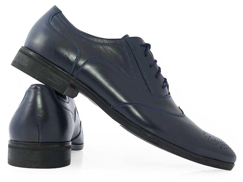 Granatowe męskie buty wizytowe - brogsy T154