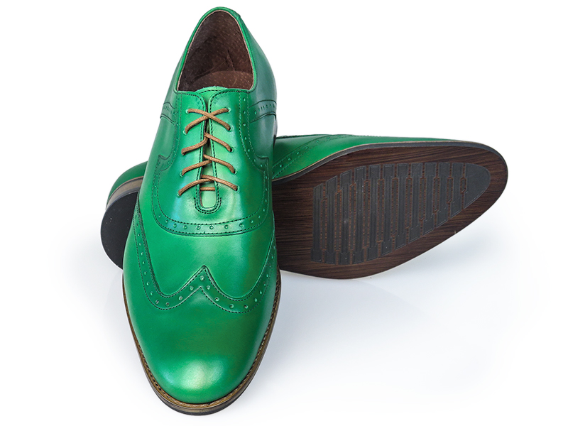 Zielone męskie buty wizytowe - brogsy T27