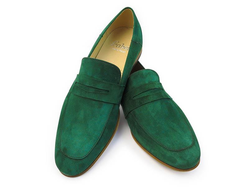 Ciemnozielone wsuwane buty męskie T116