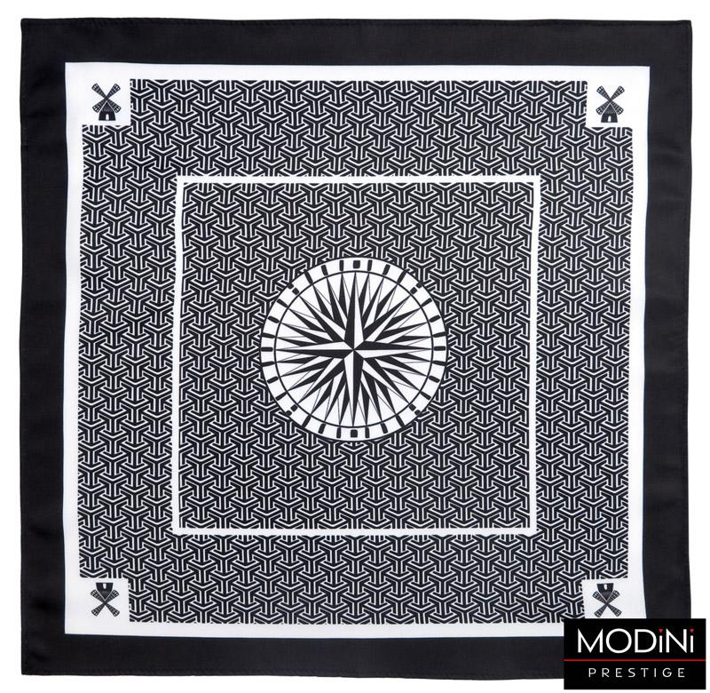czarno-biała poszetka w kompas i wiatraki