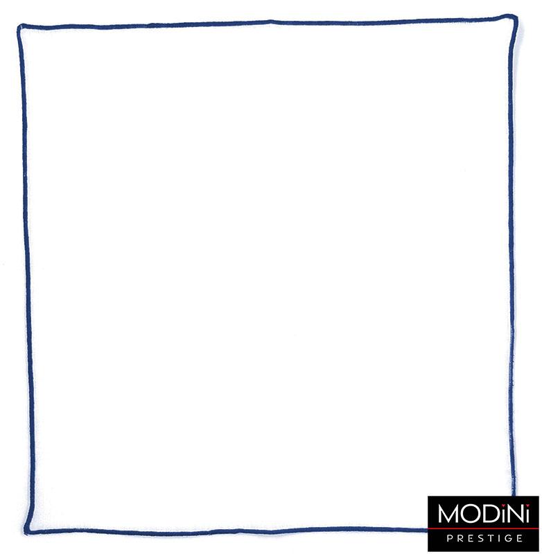 Biała poszetka z niebieskim brzegiem