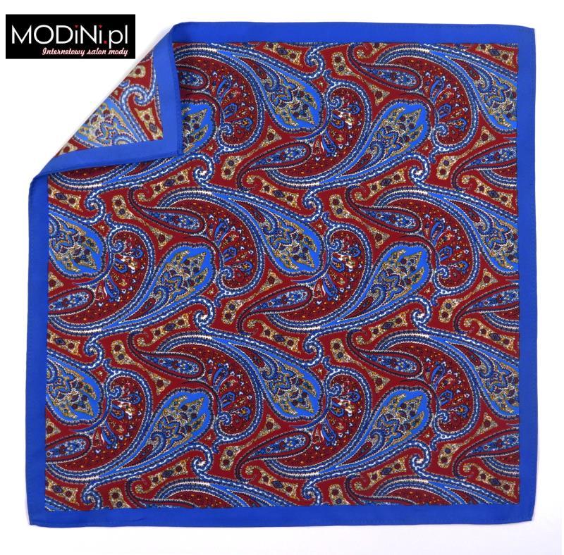 Niebieska / czerwona poszetka - duży paisley
