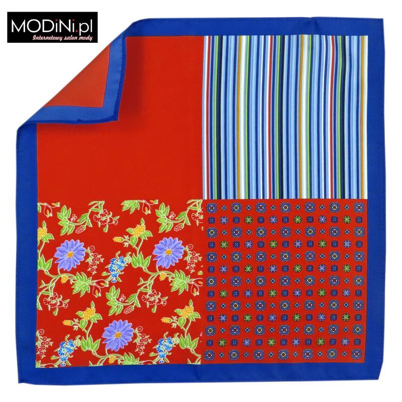 Czerwona / niebieska poszetka - 4 wzory