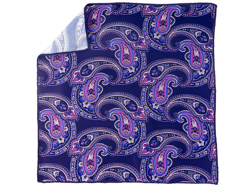 Granatowa poszetka w niebiesko-fioletowy wzór paisley E149