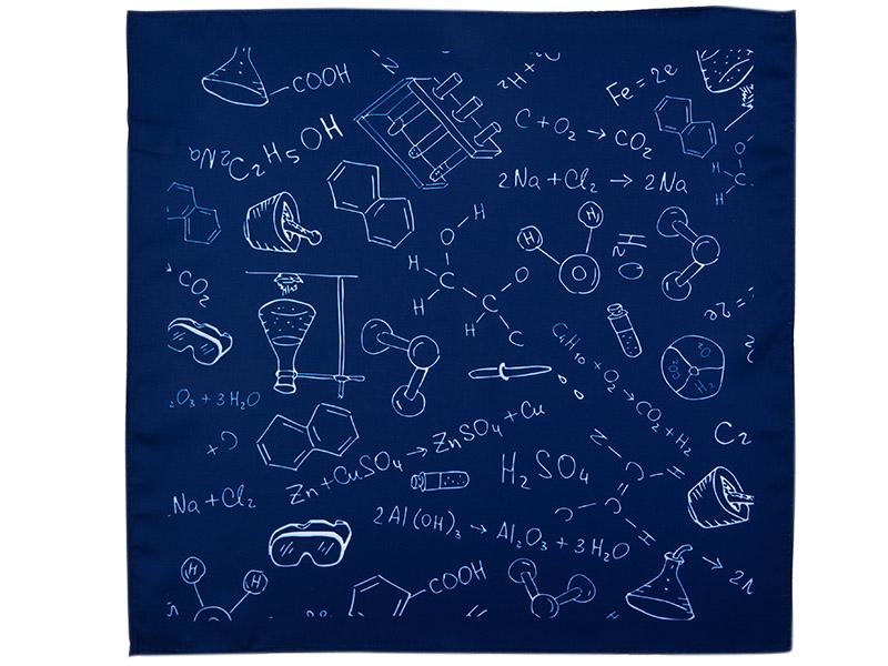 Granatowa poszetka we wzór - chemia E161