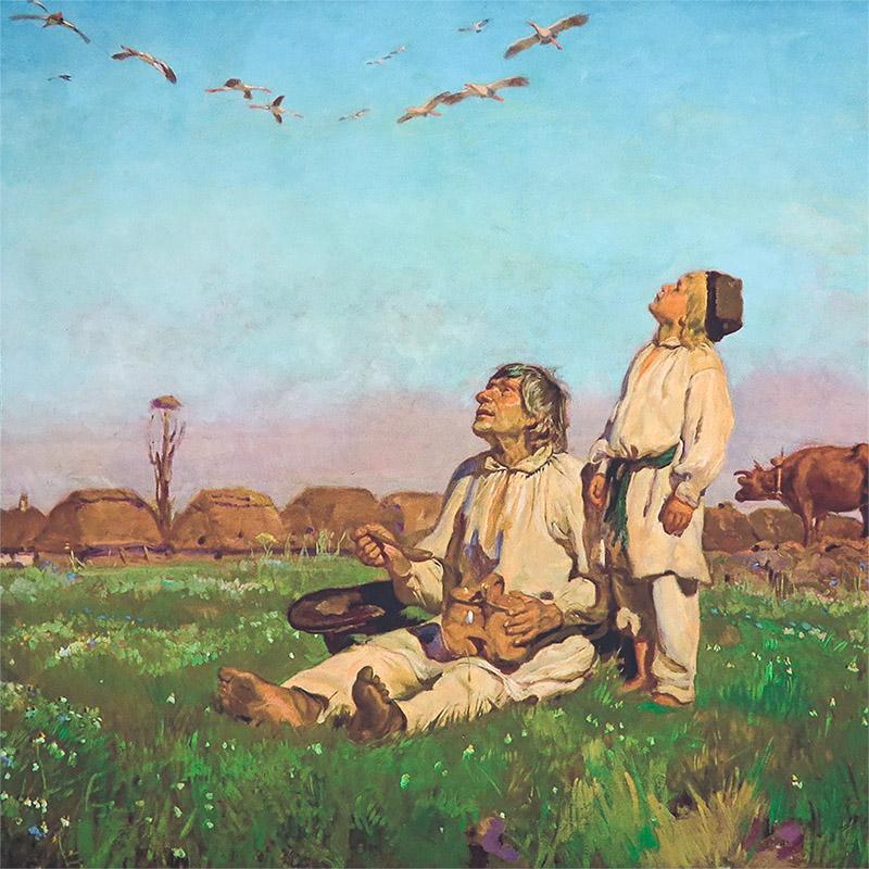"""Poszetka z reprodukcją obrazu """"Bociany"""" E175"""