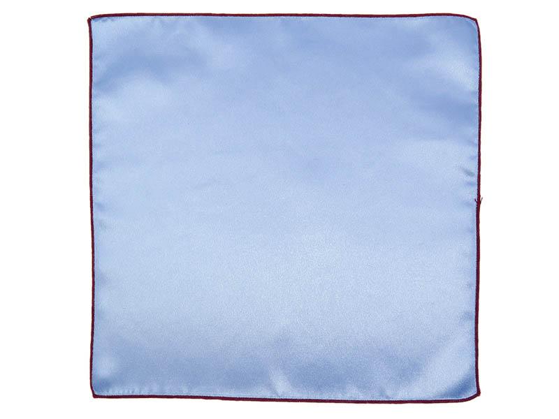 Błękitna poszetka z bordowym obszyciem E186