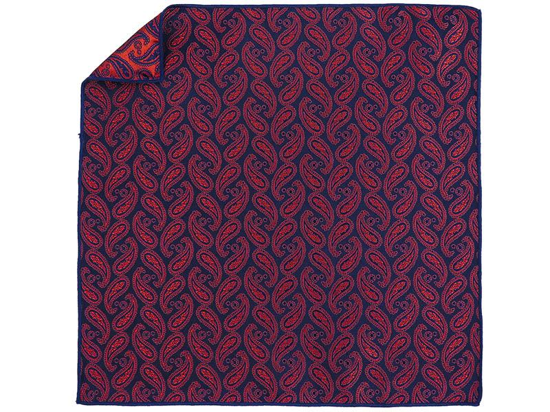 Granatowa poszetka w czerwony paisley E210
