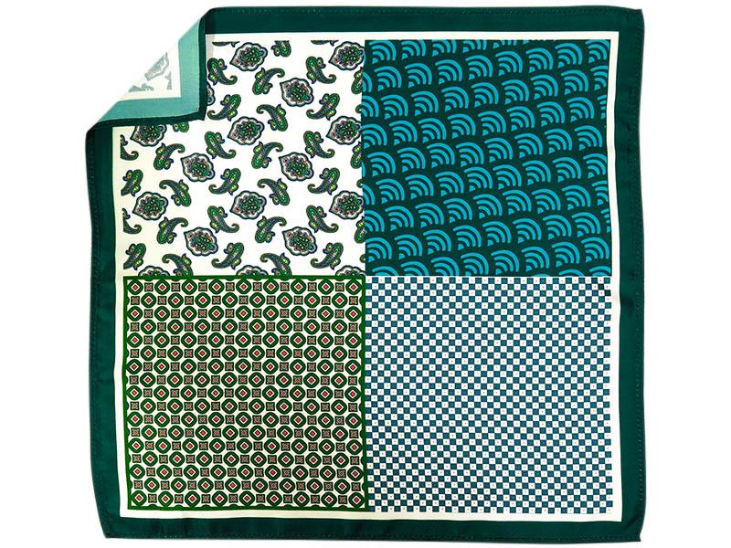 Zielona poszetka w 4 wzory E245