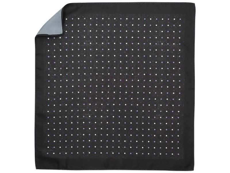 Czarna poszetka w białe i szare kropki E255