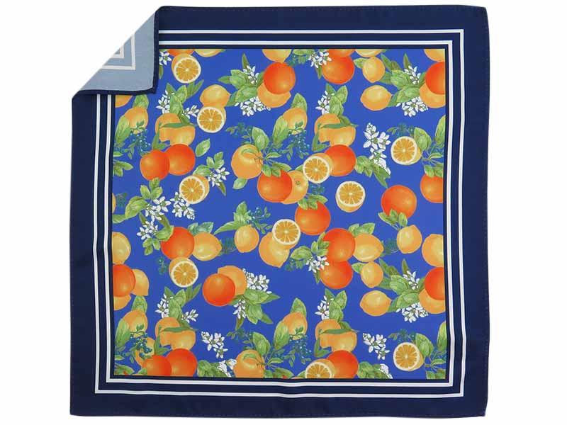 Granatowa/niebieska poszetka w pomarańcze E268